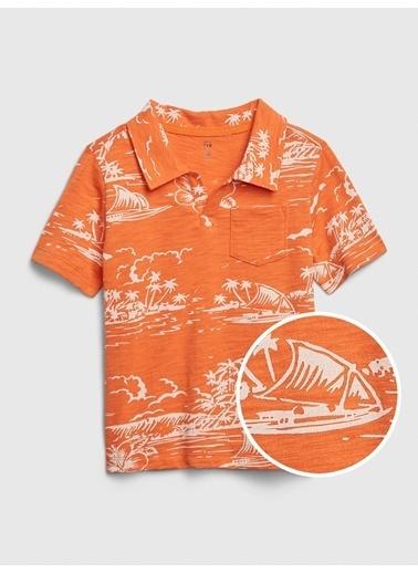 Gap Grafik Desenli Polo Yaka T-Shirt Oranj